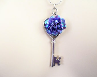 Skeleton Key Necklace With Purple Flower, Skeleton Key Necklace, Key Necklace, Silver Key Necklace