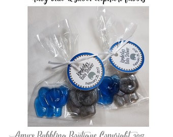 Elephant Baby Shower Party Favors - Adorable elephant soaps with bags & personalized tags included for Baby Shower First Birthday Pack of 10