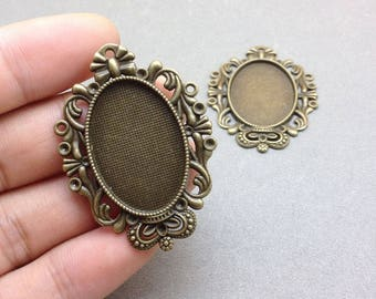 10 pcs Antique Bronze Cameo Base Settings Match Cabochon 20mmx30mm