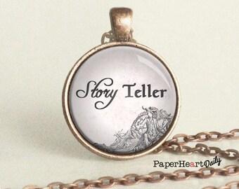 Storyteller Necklace - Storyteller - Author Gift - Gift for Writer - Story Teller - Writing Jewelry -  (B0660)