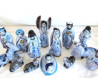 "Creche - 14 pc Tonala Nativity Scene - 6"" tall - 1989 Vintage - Hand Painted - Mexico - Blue"