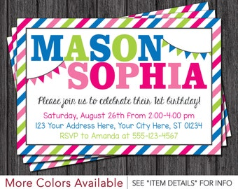 Twins Birthday Invitation • Boy and Girl Twin Birthday Invitations • Pink, Blue, Lime Green, and Hot Pink