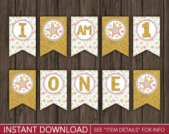 "Twinkle Twinkle Little Star High Chair Banner - ""I AM 1"" Party Decorations - Printable Digital File - INSTANT DOWNLOAD"