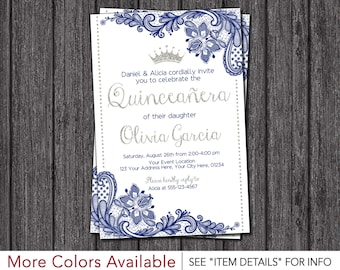 quinceanera invitation princess lace royal blue and silver quinceaera invitations - Royal Blue Quinceanera Invitations