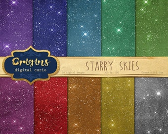 Starry Skies Digital Paper - 10 Pack Premium Printable Scrapbook Paper Pack, Celestial Night Sky Backgrounds