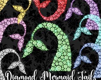 Diamond Mermaid Tails Clipart, Diamond mermaid clip art,  birthday glam chic bling digital png sparkle glitter jewel commercial use graphics