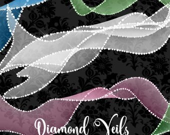 Diamond Veils Clipart, bridal veil clip art, wedding clipart, diamond sparkle, glam princess diva clipart png digital instant download