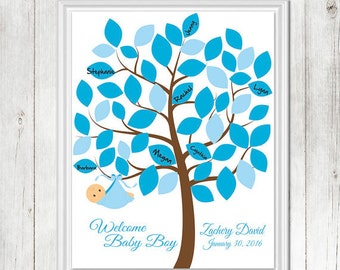 BABY Shower Sign-In, Baby Shower Tree, Baby Shower, Guestbook, Baby Keepsake, Baby Tree, Baby Boy Nursery, Personalized, African American