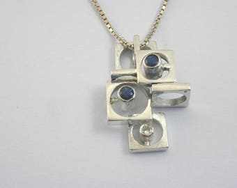 Modernist sapphire & diamond cube pendant and Chain 18 ct white gold Brutalist