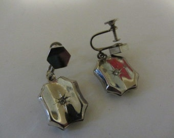 Vintage 1920 30s Sterling Silver Art Deco Star Rhinestone Earrings Early Centry mint Condition