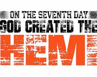 God Created the Hemi adhesive decal