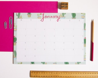 Desk Pad Calendar / A4 Monthly Calendar / Illustrated Calendar