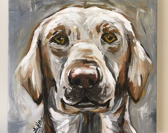 Yellow Lab Painting. Original Labrador Retriever Art, Labrador Retriever on stretched Canvas. Labrador Dog art in Neutrals