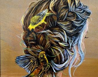 birds nest hair PRINT butterfly wood burning