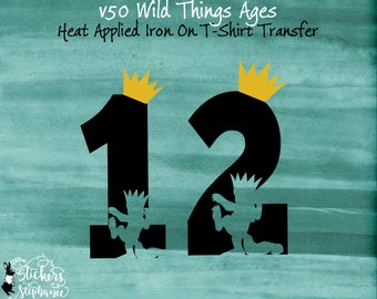v50-Ages Black & Gold Vinyl IRON ON 1 2 with Max cutout Where the Wild Things Are Heat Applied T-Shirt Fabric Transfer Decal