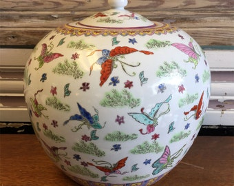 Vintage Chinese Butterflies Ginger Jar