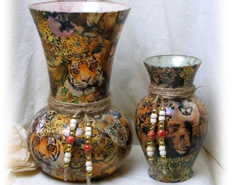 Beautiful JUNGLE CAT Decoupaged Vase Set!