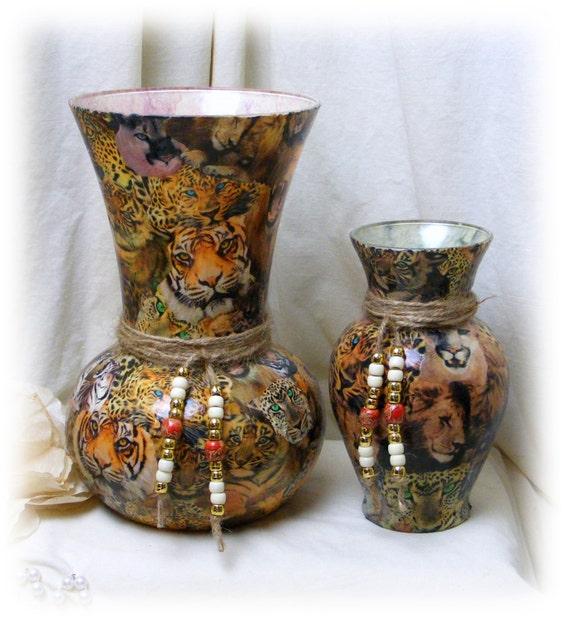 Beautiful JUNGLE CAT Decoupaged Vase Set!