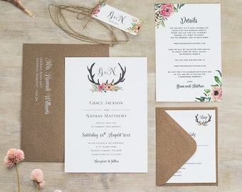 Floral Antler I Wedding Invitation - Rustic Floral Antler Wedding Invites - Sample Pack or Deposit - Wedding Invitations by Pineapple