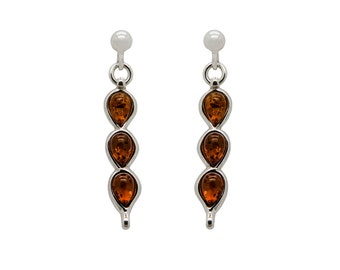 Drop Earrings - Gemstone Earrings - Long Earrings - Dangle Earrings - Amber Earrings - Baltic Amber Earrings - Stud Earrings -359E7