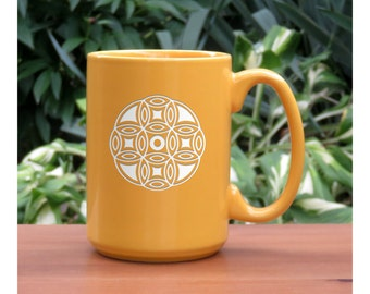 Mandala Coffee Mug / Etched 15 oz Coffee Mug / Engraved Tea Cup / Ceramic Coffee Mug / Mug for Tea, Coffee, or Hot Chocolate