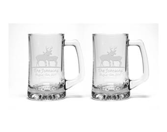 Stag and Doe Beer Mugs / Set of 2 / Free Personalization / Bride and Groom Beer Mugs / Wedding Beer Mugs / Personalized Gift