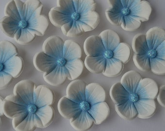 24 edible white and  blue blossom flowers. Edible sugar flower decorations. Flower cake toppers. Edible cupcake flowers.
