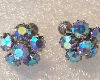 Vintage 1950s  Weiss Austrian AB Crystal Earrings