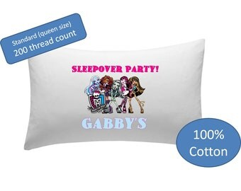 Personalized Pillowcase - sleepover party pillow case pillow cover Monster High