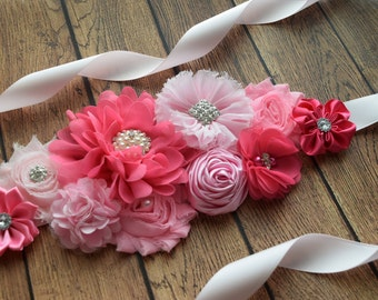 Sash, think pink  Sash,  flower Belt, maternity sash, wedding sash, flower girl sash, maternity sash belt