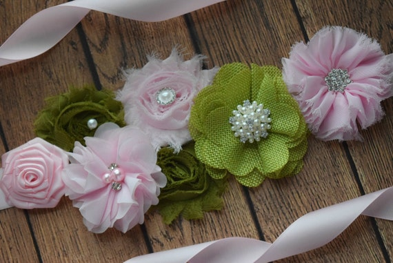 Maternity Sash belt, light pink garden dream Sash #3,  flower Belt, maternity sash