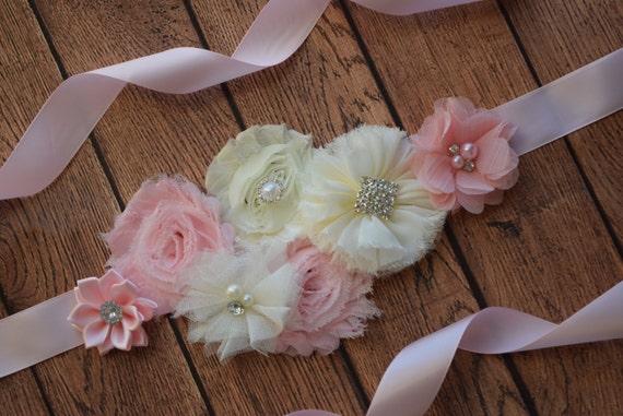 Sash, Blush pink  and ivory Sash , flower Belt, maternity sash, blush sash, wedding sash, flower girl sash