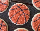 12 Basketball Sugar Cookies, basketball, hoops, sports, sport, b-ball, ball, team, theme, favors, March Madness, party, gift, cookie