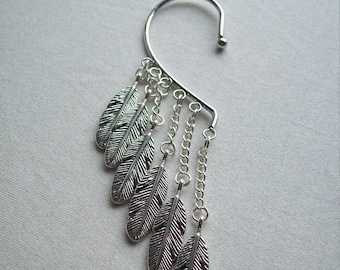 Ear cuff with feathers