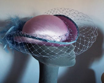 VINTAGE Ladies Hat Lilac Shiny Burlesque/Princess Diana  Hat with Deeper Lilac Array of feathers at back with matching veiling
