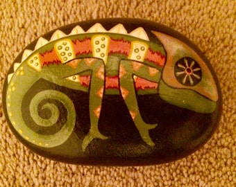Hand painted rock, chameleon, lizard, reptile, stone