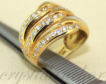 Estate 18k Yellow gold & Platinum natural White Topaz Cluster ring band 6.1grms