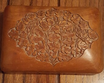Hand Carved Wooden Box with Hinged Lid Trinket Jewelry Catch All