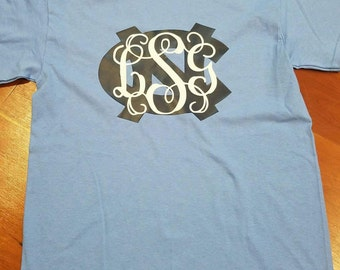 UNC Chapel Hill University of NC North Carolina Tarheels Shirt Monogrammed Initials Carolina Blue