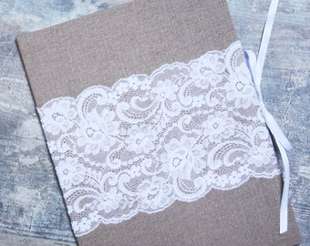 Marriage Certificate Holder with burlap like paper and lace