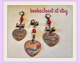 Heart jewelry , Pendant for Necklace and Earrings , Red Heart Jewelry , Red Beads, Brass beads , brass bow , hand painted