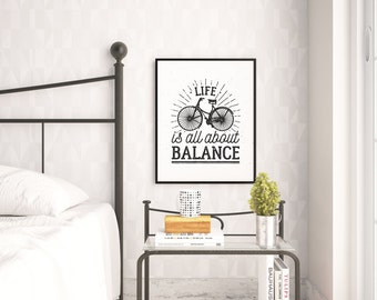 vintage bicycle print, life is all about balance, bicycle, typography print, printable quote, vintage print, vintage bicycle, bike print