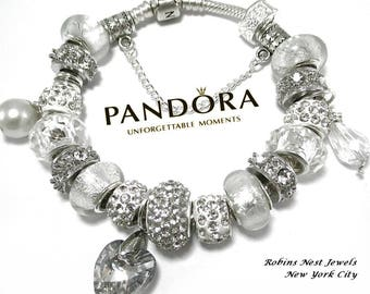 Authentic Pandora Bracelet, Sterling Silver, Or choose, Platinum Plated European Bracelet, Both with, Non Branded Beads & Charms,WS450