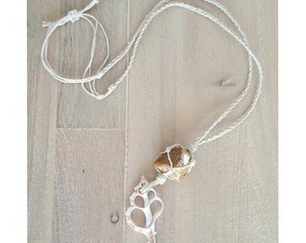 Sliced Shell and Jasper Stone Hemp Necklace