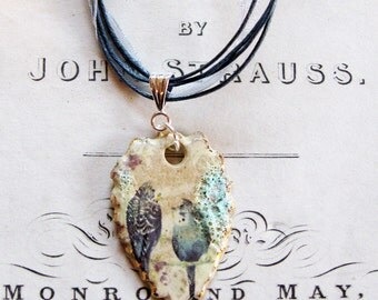 Hand made Ceramic Budgie Pendant with an organza/cotton necklace, fired 5 times and highlighted with gold - a unique gift made in the UK