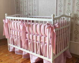 Natural linen bedding set /// Crib bedding, Nursery bedding, Cot bedding, Baby bedding, Crib bumper and skirt