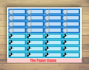 Horse And Horse Shoe Blue Label Planner Stickers