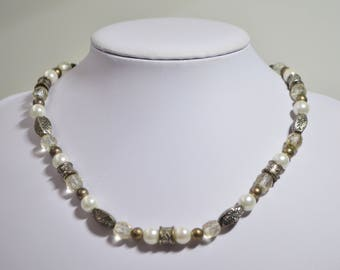 """Vintage Silver Brass White Pearl Faceted Crystal Bead Necklace 16""""-19"""" Adjustable"""