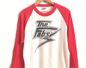 Vtg. THE FABS BAND 80s Raglan T-Shirt / Size Large