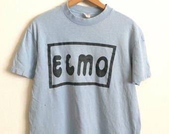 Vtg. ELMO DISTRESSED BLUE Vintage T-Shirt / Size Large